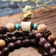 Handmade Nepal Buddhist Mala Wood Beaded Necklace Fish Pendant Long Statement Necklace for Women Men