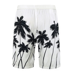 Quickly Dry Loose Coconut Tree Printing Drawstring Board Shorts for Men