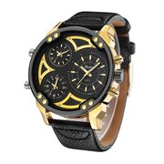 OULM Men's Big Watches Military Style Leather Quartz Watches Multiple Time Zone Sport Wristwatch