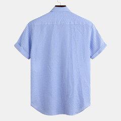 Chemises à manches courtes à col rabattu avec poche à la poitrine pour hommes