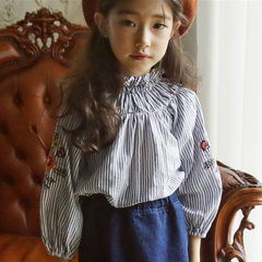 Girls Clothing Spring Summer New Girl Flower Embroidery Long Sleeve White Shirt