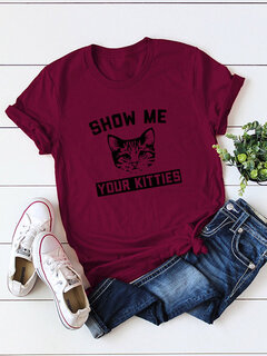 Printed Cat Letters Short Sleeve T-Shirts