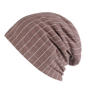 Mens Stripe Cotton Beanie Cap Earmuffs Warm Breathable Wild Outdoor Casual Hats