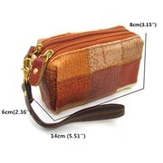 Genuine Leather Mini Bag Vintage Contrast Color Clutch Casual Phone Wallet Two Size