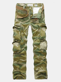 Men's Large Size Army Camouflage Loose Multi-pocket Cargo Pants