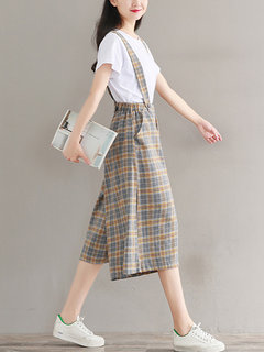 Casual Plaid Print Wide Led Rompers For Women