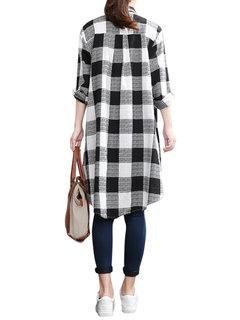 Blusa amplia de cuadro de espalda más larga con solapa de manga larga de talla grande para mujeres