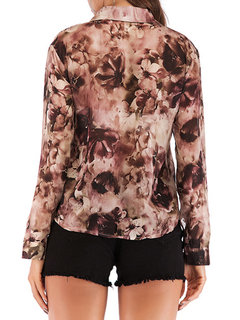 Floral Geometric Print Long Sleeve Vintage Blouse For Women