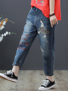 Casual Letters Patch Embroidery Drawstring Denim Pants