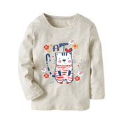 Long Sleeve Kids Girls T shirt For Girls Cat Cartoon Printed Children T-shirt