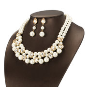 JASSY® Luxury Pearl Bridal Jewelry Sets Diamond Necklaces Crystal Dangle Earrings for Women