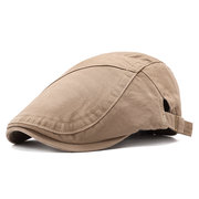 Mens Vintage Adjustable Solid Color Cotton Washed Beret Cap Casual Sunshade Newsboy Forward Hats