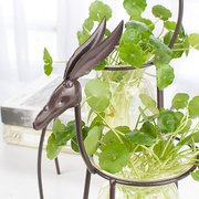 Iron Deer Flower Vase Creative Hydroponic Container Glass Home Decoration