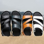 Large Size Men Two Ways Wearing Water Friendly Leather Sandals