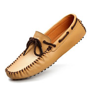 Men Genuine Leather Slip On Boat Shoes Moccasins Casual Loafers