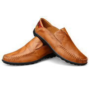 Large Size Men Genuine Leather Comfortable Slip On Business Casual Shoes