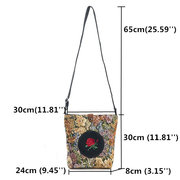 Women Flower Jacquard Lady Large Capacity Shoulder Bag Rose Embroidery Canvas Messenger Bag