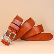 Men Retro Wild Business Genuine Leather Waistband First Layer Of Leather Pin Buckle Belt