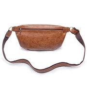 Vintage PU Leather Casual Sling Bag Bolsa de cintura Crossbody Bag para homens