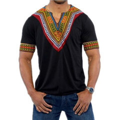 Mens African Ethnic Style 3D Printed V-neck Casual Summer T Shirts