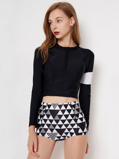 High Waisted Zip Front Patchwork Geometric Print Tankinis