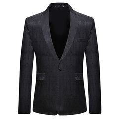 Mens Business Casual Print Pockets Single Breasted Design Slim Young Blazer