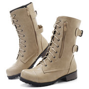 Large Size Zipper Pure Color Lace Up Motorcycle Block Heel Knight Boots