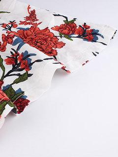 Повседневная печать Лоскутная Кружева Экипаж Шея Размер Plus Блузка