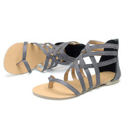 Extra Size Lace Up Clip Toe Zipper Lady Flat Sandals