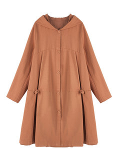 OUBOGJ Solid Loose Hooded Trench Coat for Women