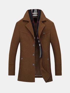 British Style Winter Business Thicken Detachable Scarf Woolen Jacket for Men