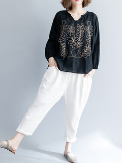 Vintage Embroidery V Neck Long Sleeve Black Blouse