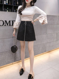 Slim Suede Zip High Waist Short Skirt