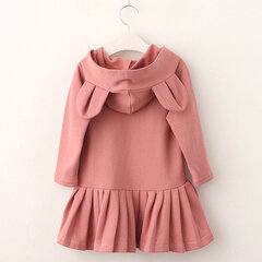 Cute Rabbit Bunny Pattern Hooded Girls Dresses Casual School Kids Girls Clothes