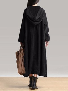 Women Vintage Plate Buckles Long Sleeve Hooded Long Maxi Dresses
