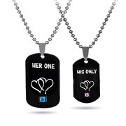 Sweet Couple Pendant Necklace Imperial Crown Heart Pattern Geometric Charm Necklace for Women Men