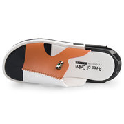 Men Color Blocking Leather Non Slip Wear Resistant Slip-ons Casual Beach Sandals