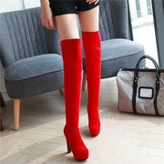 Suede Chunky Heel Over The Knee Lace Boots For Women