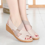Splicing Slip On Pure Color Casual Wedges Sandals