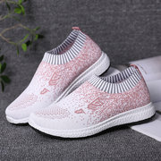 LOSTISY Women Casual Sports Shoes Light Breathable Hollow Mesh Slip On Sneakers