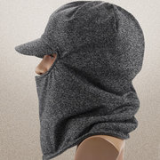 Men Women Warm Thick Jacquard Baseball Cap With Earmuffs Windproof Hooded Neck Face Mask Hat