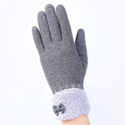 Women Winter Touch Screen Bow Lace Splice Gloves Outdoor Windproof Plush Warm Gloves Christmas Gift