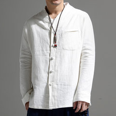 Mens National Style Retro Solid Color Stand Collar Long Sleeve Loose Fashion Casual Shirt