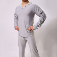 Casual Home Soft Sexy Breathable Solid Color Hoody Yoga Sleepwear Top for Men