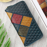 Women Genuine Leather Embossed 19 Card Slot Wallet Stitching Phone Purse