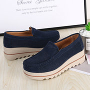 Breathable Hollow Suede Platform Slip On Casual Shoes