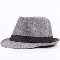Men Women Stylish Linen Panama Fedora Jazz Hats Sunscreen Breathable Beach Sun Hats