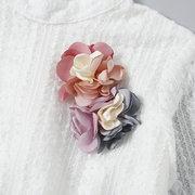 Цветочные пэчворк для девочек с длинным рукавом и воротником для 1Y-7Y