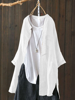 Vintage Solid Color High Low Plus Size Long Shirt