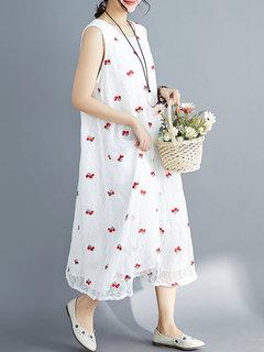Robe Maxi Vintage sans manches en dentelle brodée pour femmes